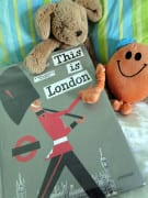 Toys on bed with This is London