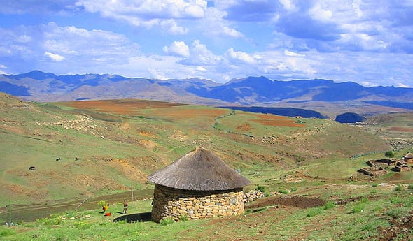 Lesotho round hut feature in prince harry garden