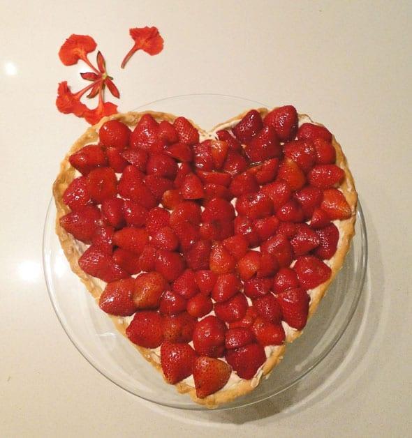 strawberry tart in heart shape