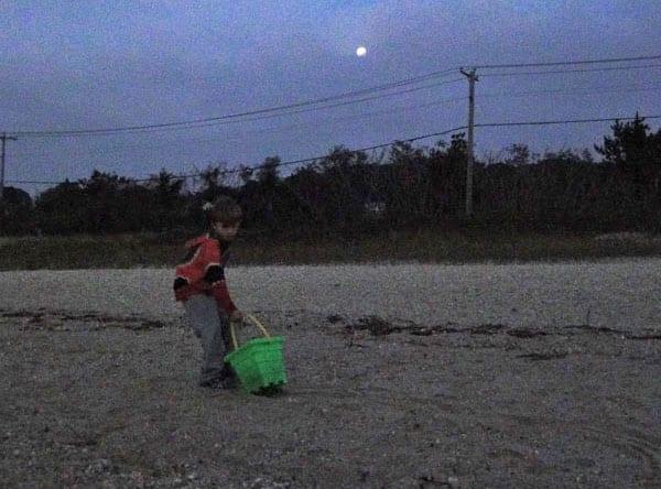 Dragging bucket in moonlight