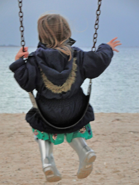 on swing by sea
