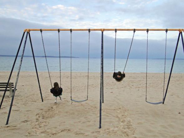 swings on beach