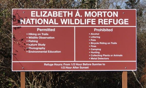 Morton National Wildlife Refuge Sign