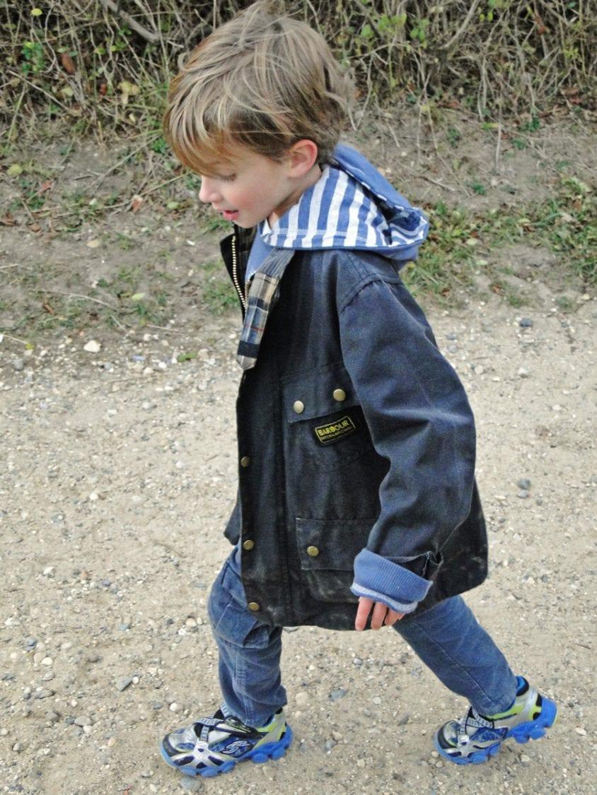 wearing Boy's barbour