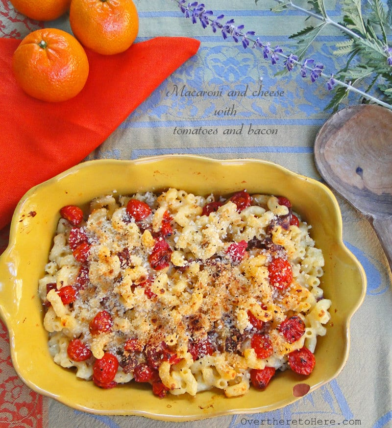 Macaroni and cheese with bacon and tomatoes - Wild About Here