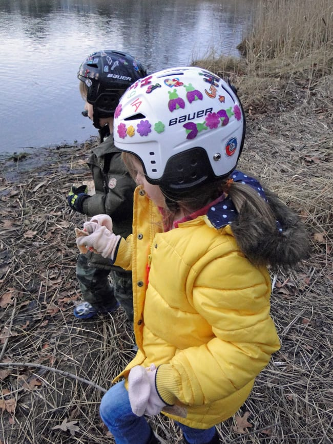 feeding bread swan pond
