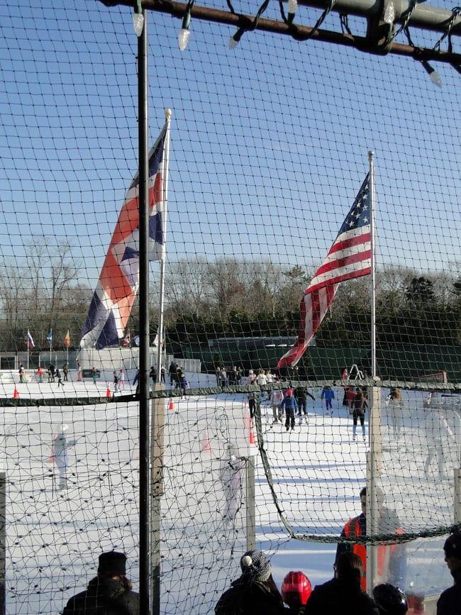 US UK flags ice skating rink hamptons