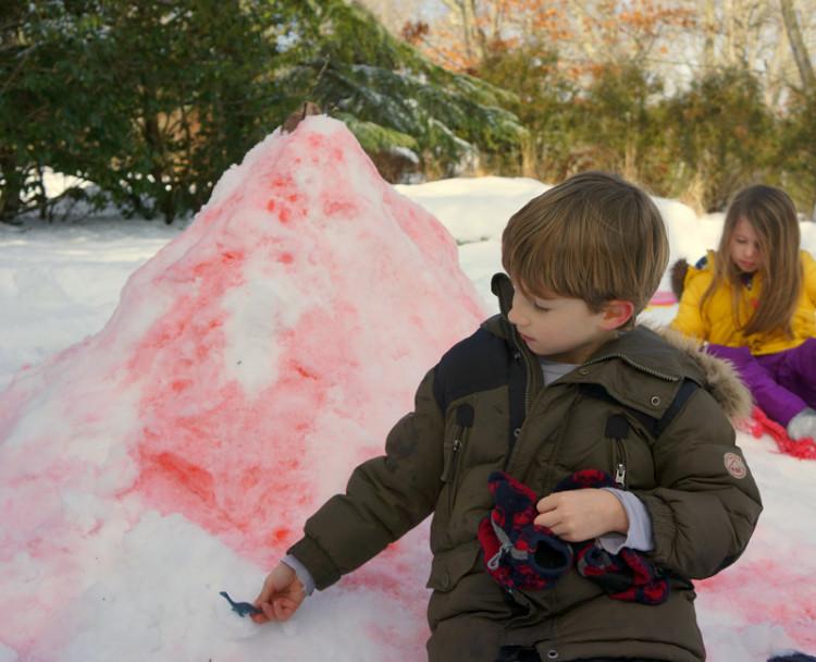 dinosaur and snow volcano