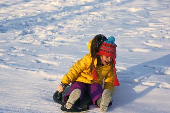 sledding ice snow