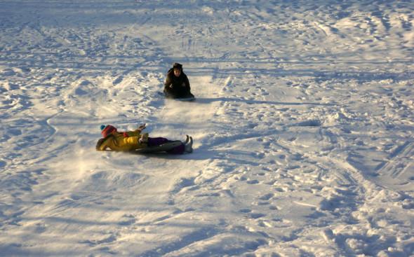 sledding hill ice snow