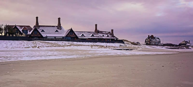 Southampton beach mansions and snow