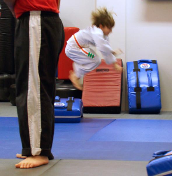 theo jumping karate class