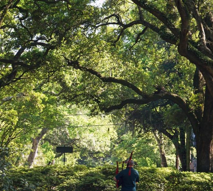 Bagpiper in Savannah garden square