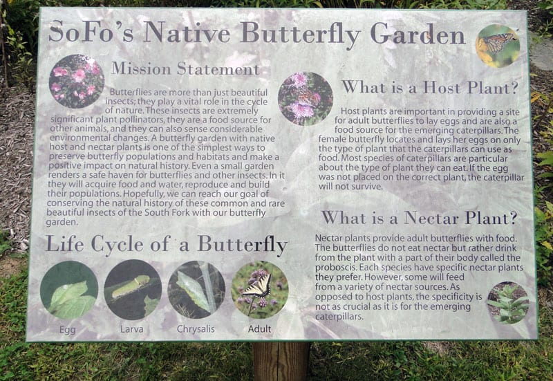 Sign for SOFO Native Butterfly Garden