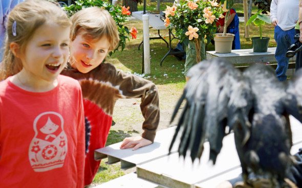 Luce and Theo with crow