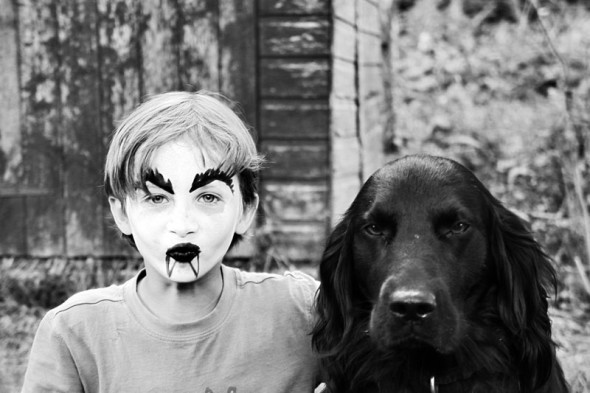 bw facepaint and dog