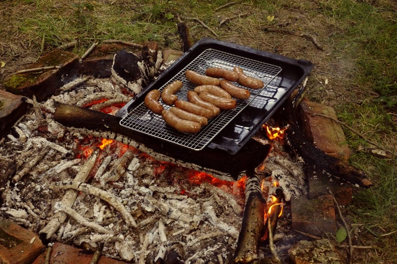 sausages on campfire