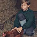 Theo and chicken friend