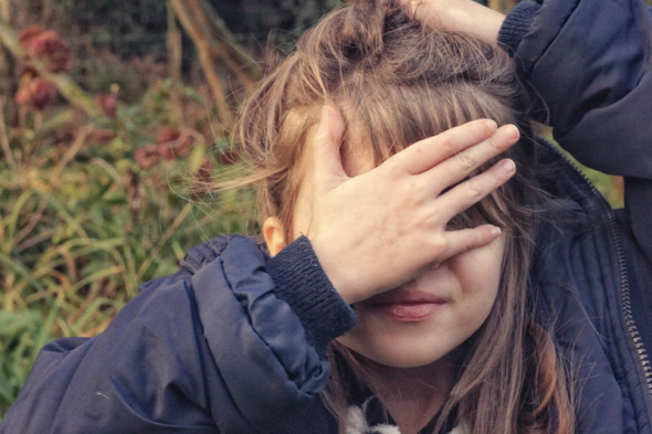 Luce hiding eyes