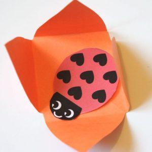 Ladybug inside paper flower
