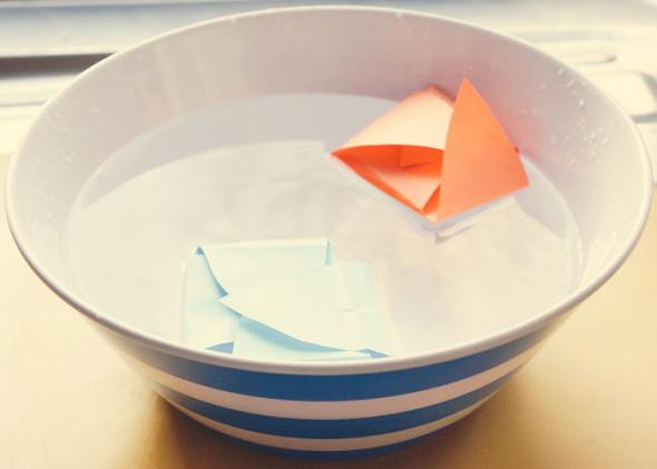 Floating folded paper flower