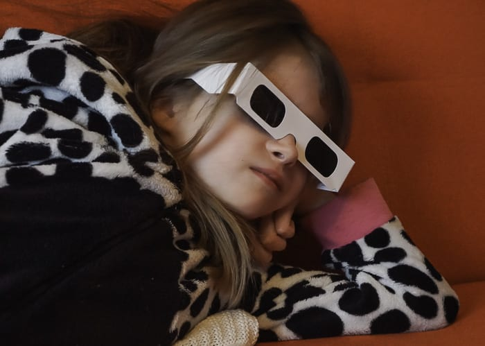 Luce in solar eclipse glasses