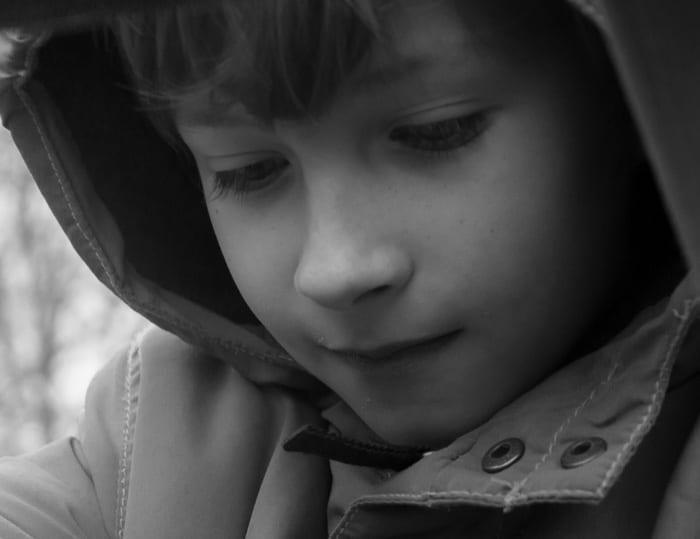 Theo in payground b & w