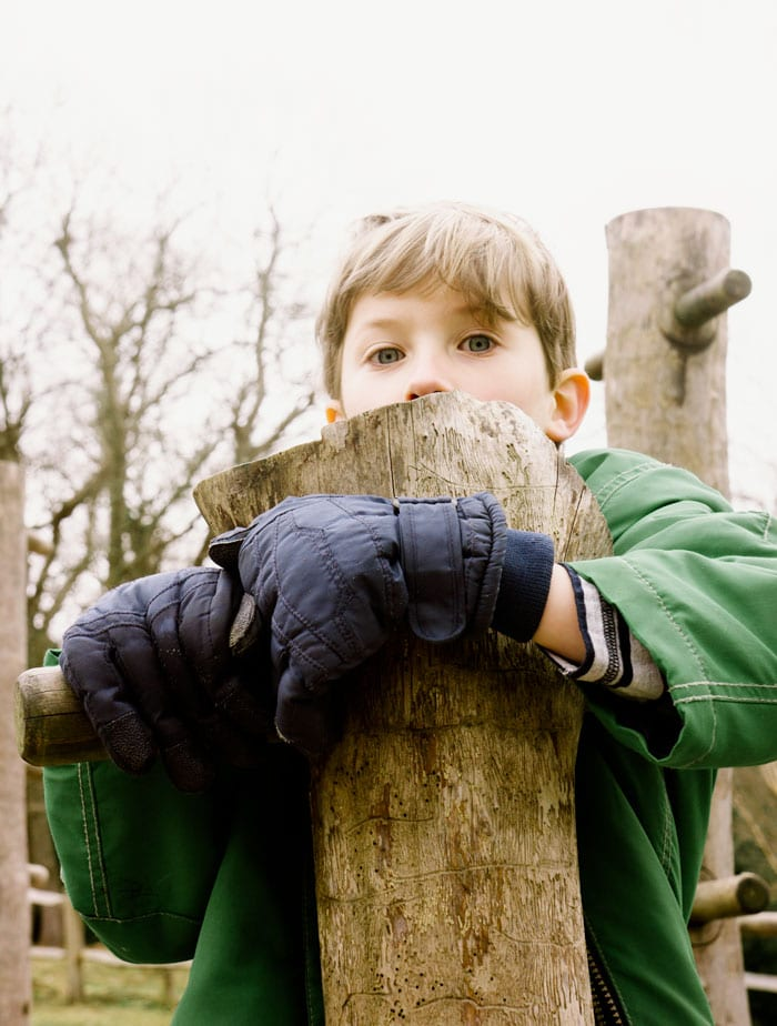 Theo on climbing pole at Wakehurst