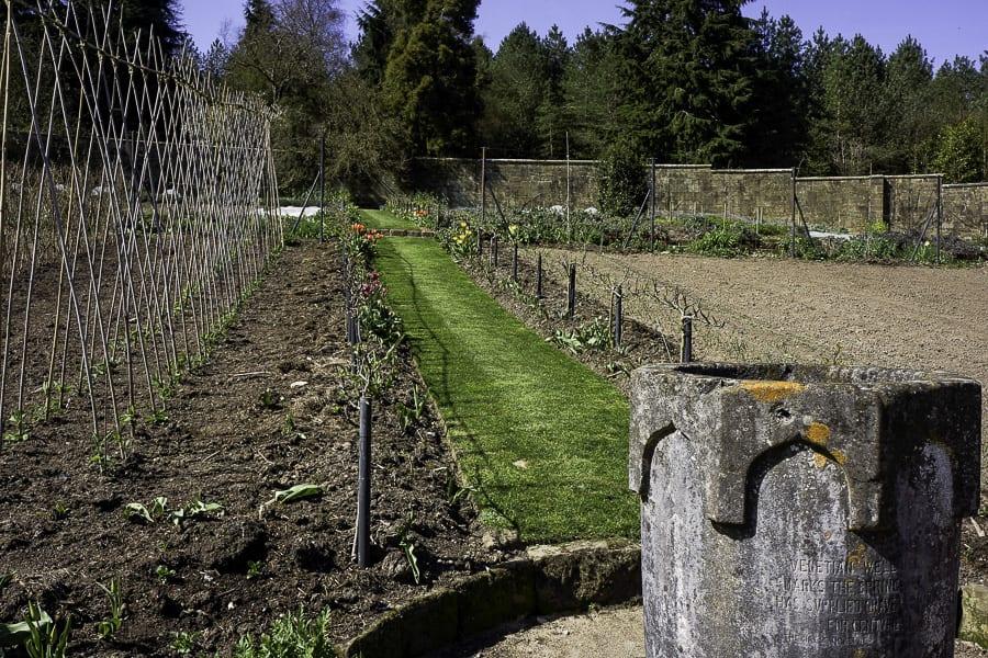 Gravetye kitchen garden stone urn and path