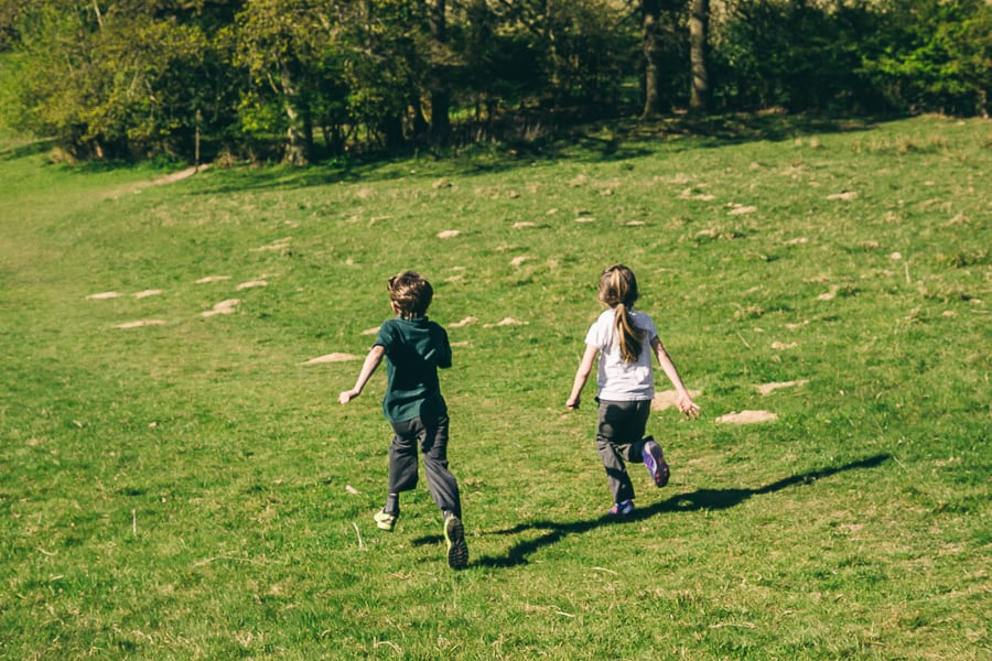 Nature benefits children hill running