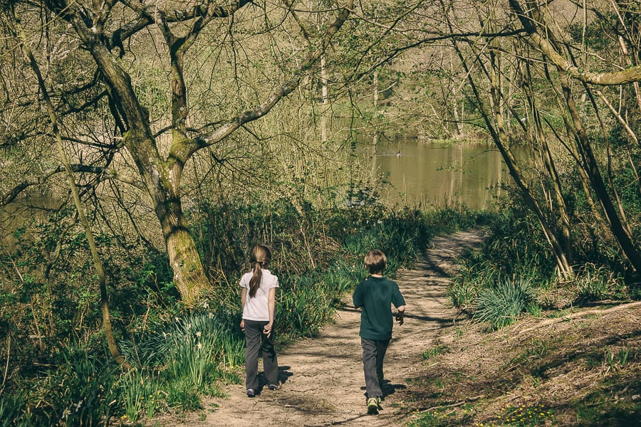 Nature benefits children lake path