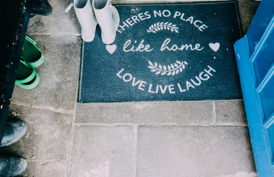 Floor mat and boots mudroom