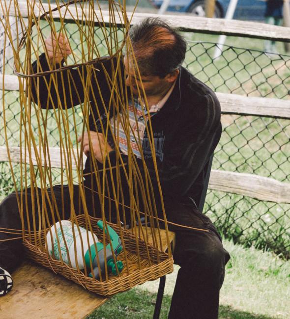 Basket weaving at village fair