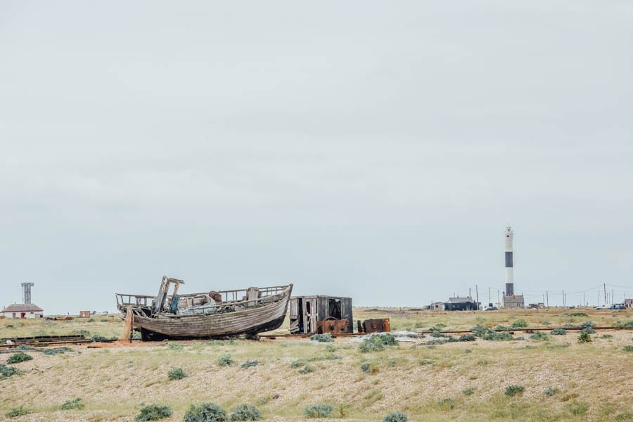 Dungeness abandoned ship and lighthouse