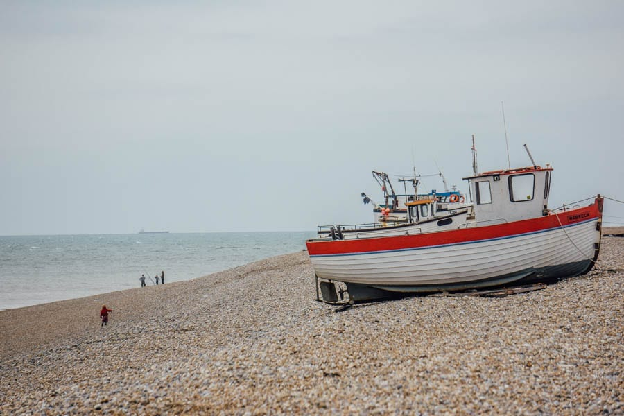 Dungeness fishing boats on beach