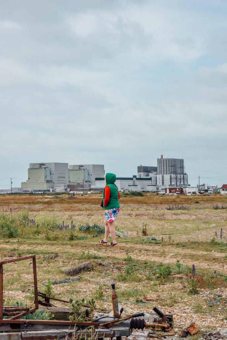 Dungeness walk with nuclear power station in background