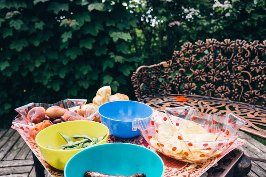 Table with picnic food in my garden