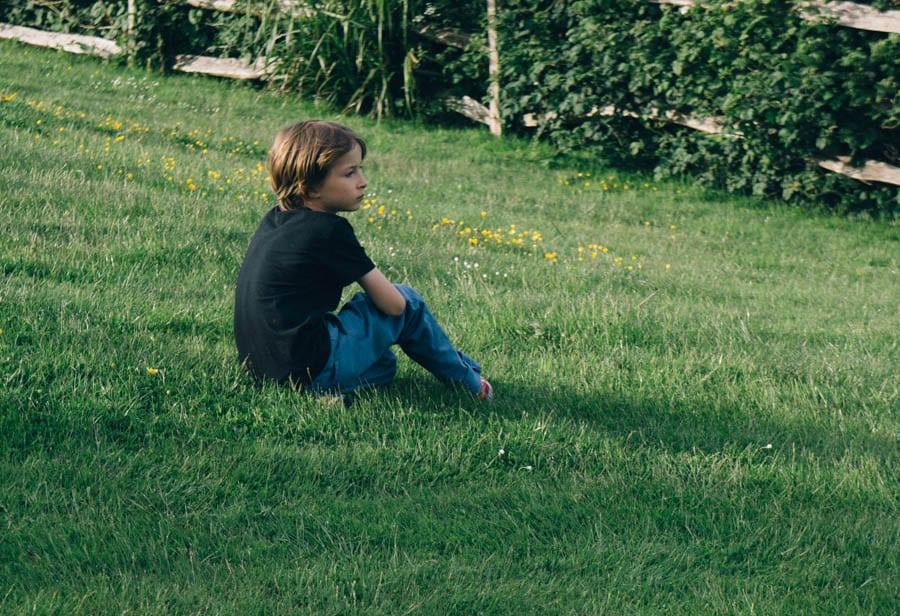 Theo resting in garden