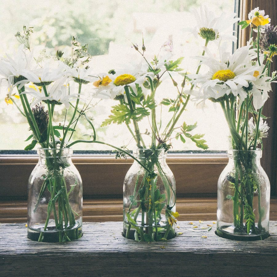 bottles with wild flowers