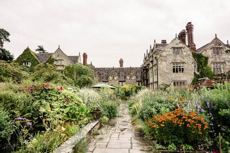 Gravetye Manor flower garden in rain