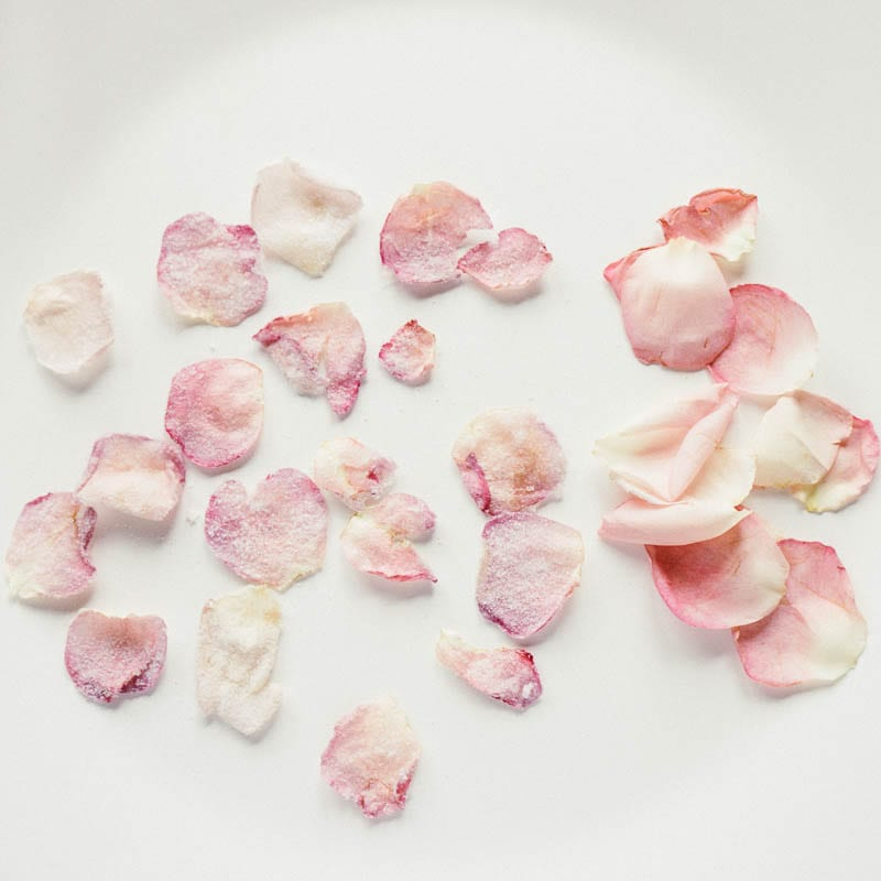 Rose petals crystallised and fresh