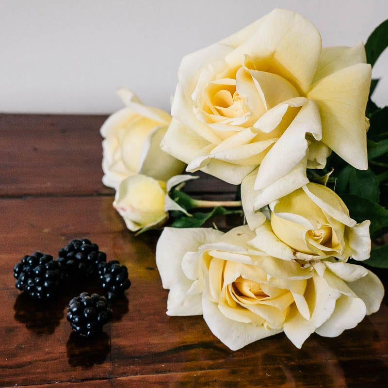 Blackberries and roses from the garden