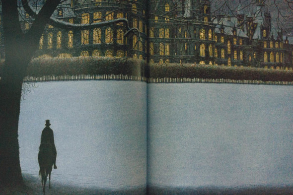 Father arriving at Beast's palace in snow