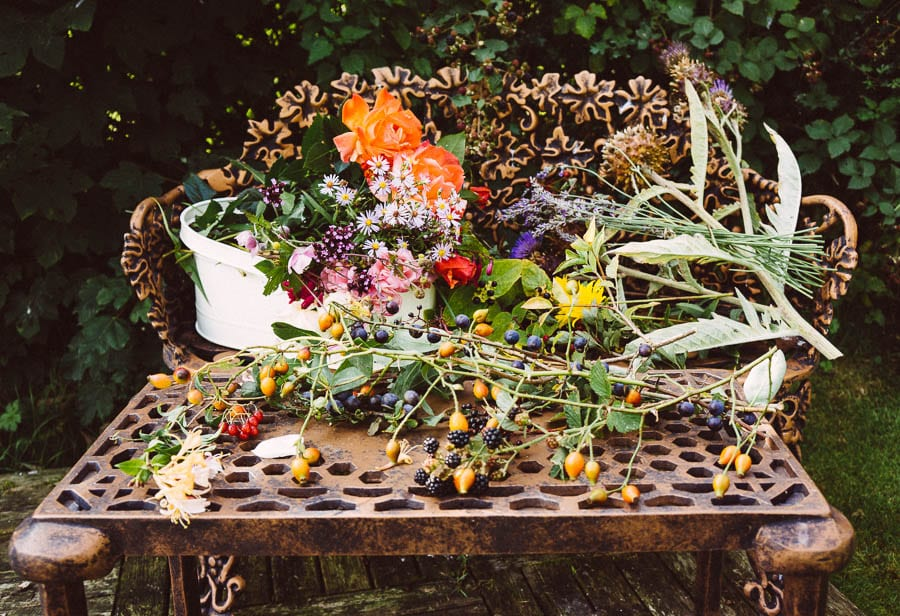 September nature and flowers on garden table