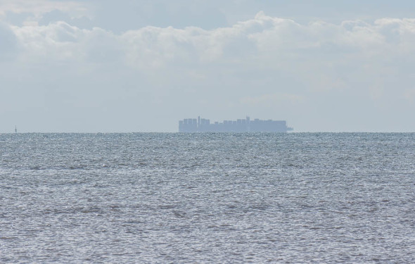 Cargo ship on English channel