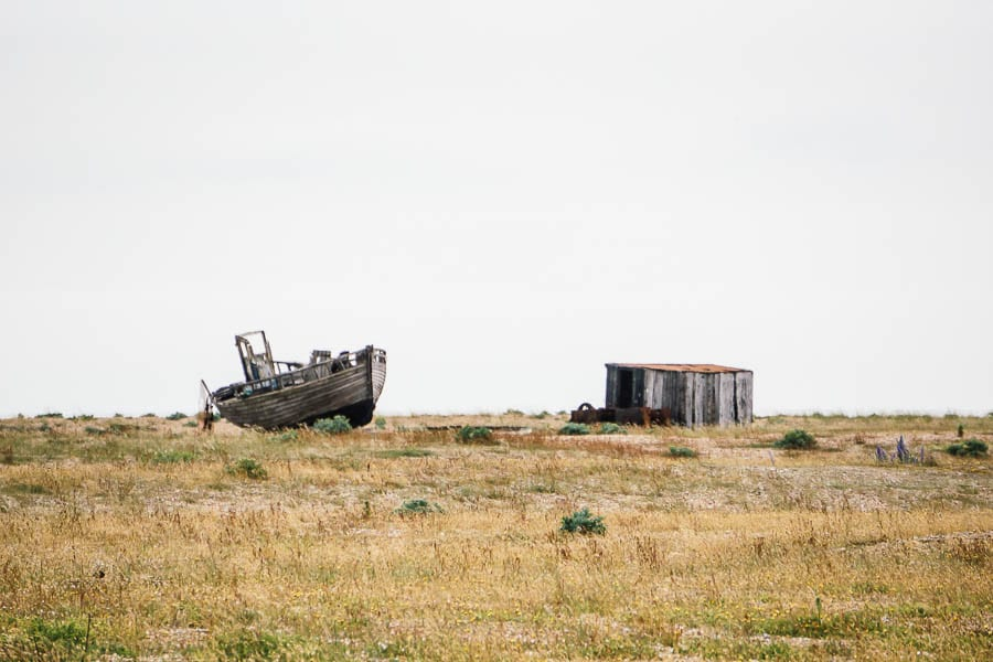 Dungeness abandoned boat and shed