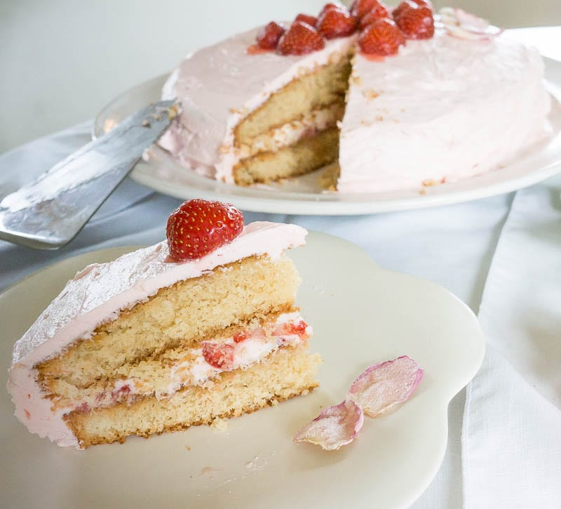 Rose and Strawberry cake with rose water buttercream
