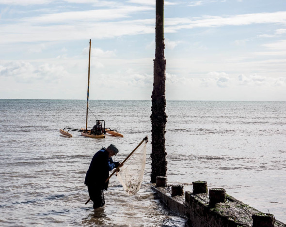 Shrimping and sailing on Kent beach