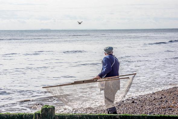 Shrimping at Kingsdown Kent with net