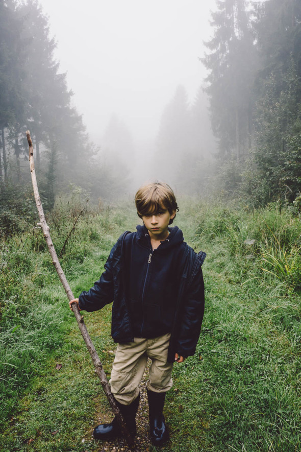 Theo pose on path in mist